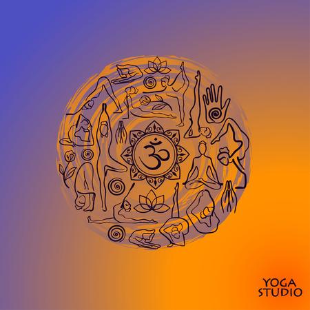 female silhouettes: Creative yoga ucon. Colorful female silhouettes doing yoga poses. Concept design of yoga symbols in circle shape. Illustration