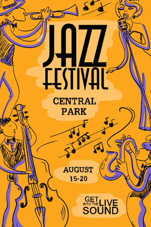 contrabass: Musical creative poster with singer, saxophone, trumpet and contrabass players. Jazz festival design concept invitation.