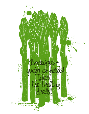 poetic: Hand drawn illustration of isolated green asparagus silhouette on a white background. Typography poster with creative poetic quote inside. Illustration