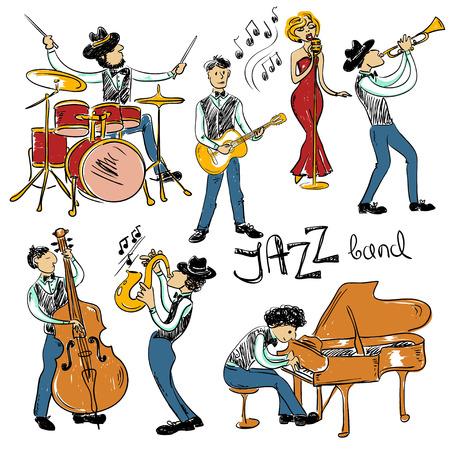 musico: Conjunto divertido de colores aislados músicos de jazz dibujados a mano. Iconos de la banda de jazz.