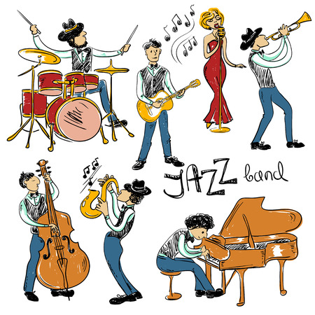 Funny set of isolated colorful hand drawn jazz musicians. Jazz band icons.