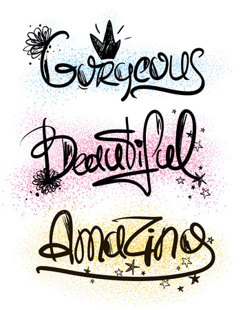 handlettering: Girls decorative handlettering words. Creative typography illustration with words inspiration - beautiful, gorgeous, amazing.