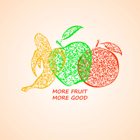 apple isolated: Hand drawn colorful illustration of isolated apple, banana and orange fruit silhouettes.