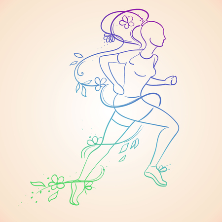 silhouette contour: Illustration of isolated colorful running beautiful woman silhouette. Runner girl contour silhouette. Leadership concept. Illustration
