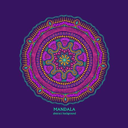getrokken hand levendige kleurrijke geïsoleerde cirkel mandala design. Etnische ornament.