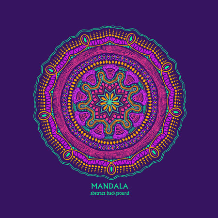 Hand drawn vibrant colorful isolated circle mandala design. Ethnic ornament.