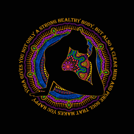 woman pose: Isolated woman silhouette doing cobra pose of yoga and vibrant colorful mandala design on a black background.