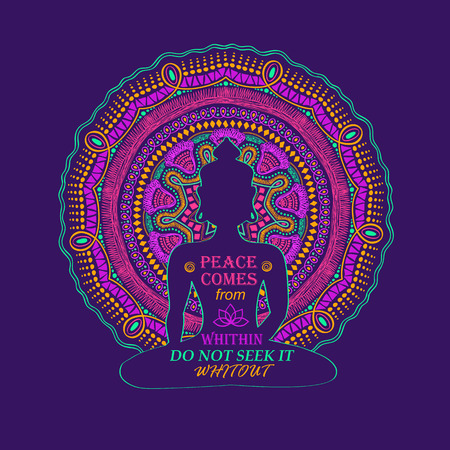 buddhist: Isolated Buddha silhouette sitting in lotus pose of yoga and vibrant colorful mandala design on a background. Creative typography poster or card with quote inside Buddha silhouette.