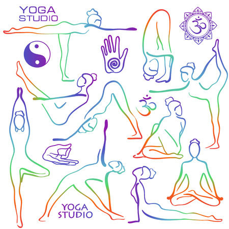 contorno: Conjunto de arco iris aislado poses de yoga contorno dibujado a mano. Colección de asanas de yoga femenina estilizada.