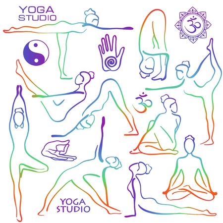 asanas: Set of isolated rainbow hand drawn outline yoga poses. Collection of stylized female yoga asanas.