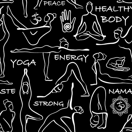 asanas: Black and white seamless pattern of yoga poses. Yoga abstract background with asanas, symbols and text. Illustration
