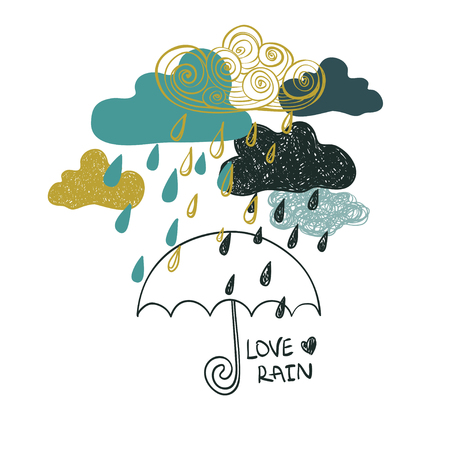 love in rain: Illustration of cute colorful rain clouds and umbrella. Creative rainy background or card. Concept of love rain.