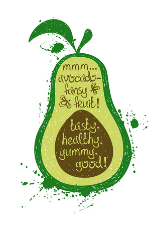white yummy: Hand drawn illustration of isolated avocado silhouette on a white background. Typography poster with creative poetic quote inside - mmm...avocado - fancy fruit! tasty, healthy, yummy, good.