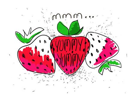 frutas divertidas: Dibujado a mano ilustración de las fresas de colores aislados sobre un fondo blanco. fresa de la historieta divertida brillante.