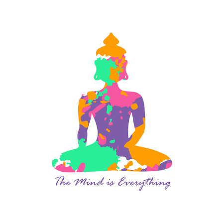 buddha lotus: Isolated Buddha silhouette sitting in lotus pose of yoga on a white background. Buddha silhouette made from grunge colorful abstract paintbrush splashes.