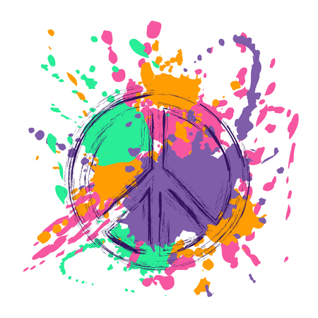Peace sign over abstract colorful paintbrush splashes grunge background. Peace and love hippie symbol.