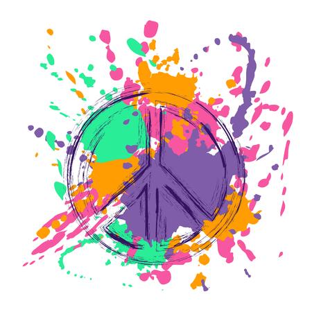 symbol of peace: signo de la paz sobre la brocha de colores de fondo grunge salpica el fondo. Paz y amor símbolo hippie.