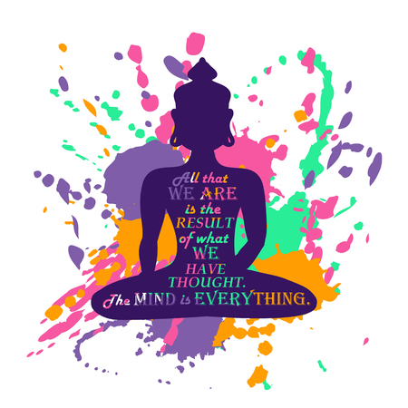 buddha lotus: Isolated Buddha silhouette sitting in lotus pose of yoga over abstract colorful grunge splash background. Creative typography poster or card with quote inside Buddha silhouette. Illustration