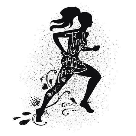 pace: Illustration of isolated black running beautiful woman silhouette on a white background. Runner girl silhouette with text inside - find your happy pace.