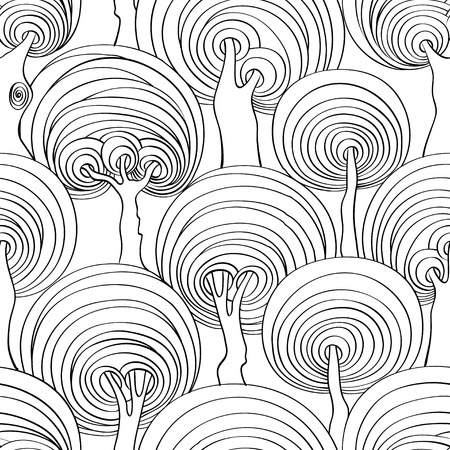 hypnotizing: Graphic seamless pattern of psychedelic crazy trees. Adult antistress coloring book page. Illustration