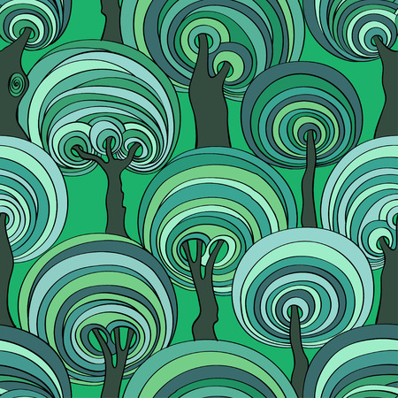 hypnotizing: Blue and green seamless pattern of psychedelic crazy trees. Funny colorful forest background.