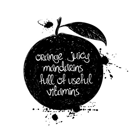 poetic: Hand drawn illustration of isolated black mandarin silhouette on a white background. Typography poster with creative poetic quote inside - orange juicy mandarins full of useful vitamins. Illustration