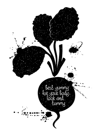 Hand drawn illustration of isolated black radish silhouette on a white background. Typography poster with creative poetic quote inside: best yummy for your body, look and tummy.