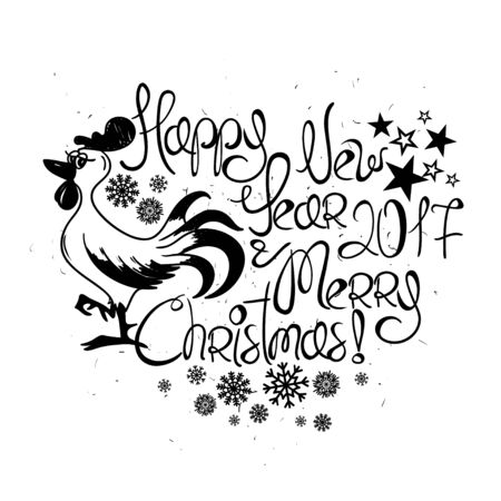 Happy New Year And Merry Christmas Greeting Card. Graphic Typography ...