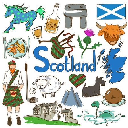 スコットランド アイコンの楽しいカラフルなスケッチ集。スコットランドのシンボルと協会の旅行の概念。