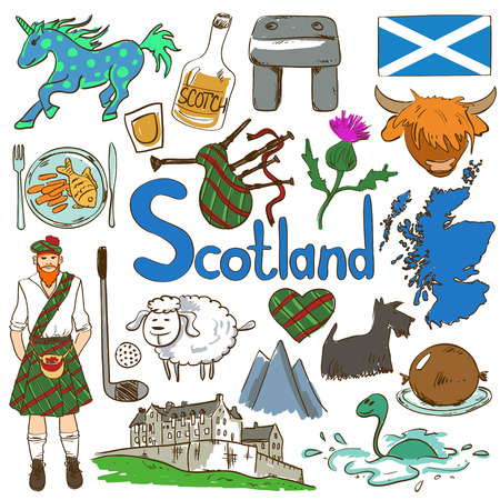 unicorn fish: Fun colorful sketch collection of Scottish icons. Travel concept of Scotland symbols and association. Illustration