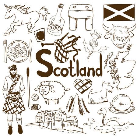 스코틀랜드 아이콘의 재미 스케치 컬렉션입니다. 스코틀랜드 기호 및 협회의 여행 개념입니다.