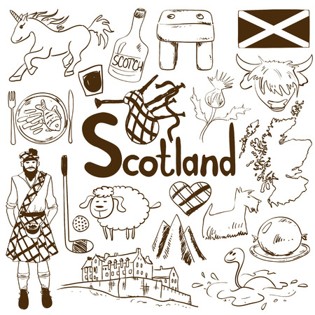 Fun sketch collection of Scottish icons. Travel concept of Scotland symbols and association.