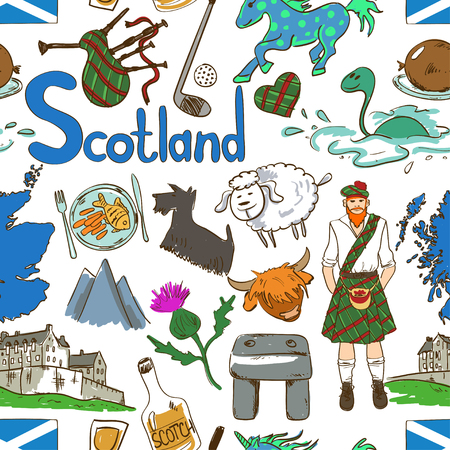 Fun colorful sketch Scottish seamless pattern on a white background. Travel concept of Scotland symbols and association.