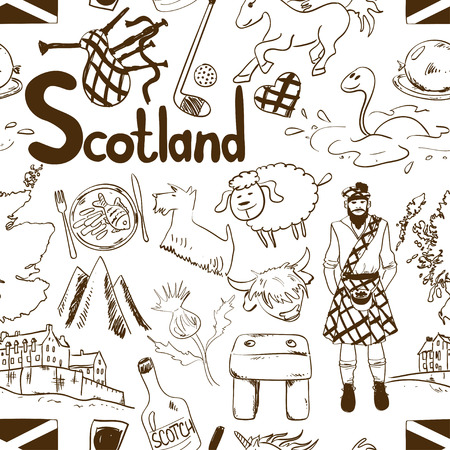 thistle: Fun graphic sketch Scottish seamless pattern on a white background. Travel concept of Scotland symbols and association.
