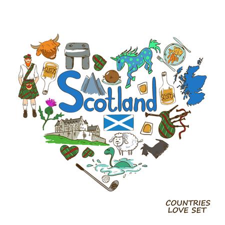 スコットランドのシンボルのカラフルなスケッチ集。ハート形のコンセプトです。スコットランド旅行の背景。