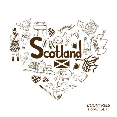 unicorn fish: Graphic sketch collection of Scottish symbols. Heart shape concept. Scotland travel background.