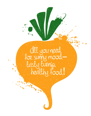 poetic: Hand drawn illustration of isolated yellow turnip silhouette on a white background. Typography poster with creative poetic quote inside: all you need for sunny mood - tasty turnip, healthy food. Illustration