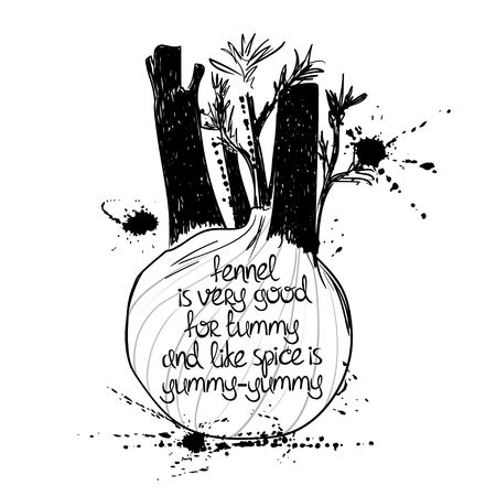 fennel: Hand drawn illustration of isolated black fennel silhouette on a white background. Typography poster with creative poetic quote inside - fennel is very good for tummy and like spice is yummy-yummy.