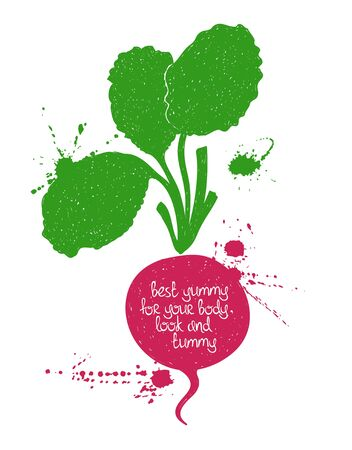 white yummy: Hand drawn illustration of isolated red radish silhouette on a white background. Typography poster with creative poetic quote inside: best yummy for your body, look and tummy. Illustration