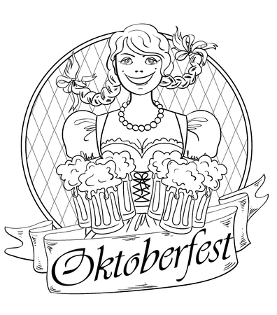 german tradition: Funny smiling Oktoberfest girl with glasses of beer. Isolated on a white background. Creative adult coloring book page. Illustration