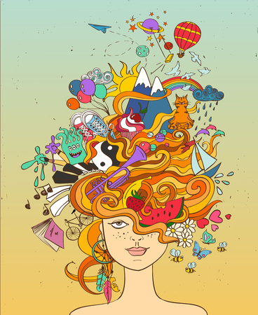 Portrait of young beautiful girl with crazy psychedelic red hair and her dreams, wishes, hobbies - lifestyle concept.
