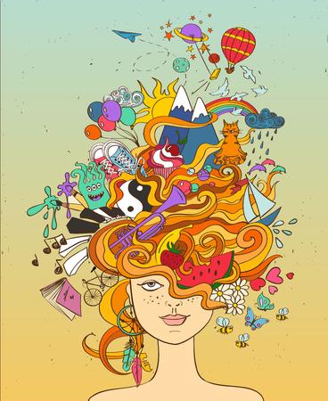 Retrato de joven hermosa con el pelo loco psicodélico rojo y sus sueños, deseos, aficiones - concepto de estilo de vida. Ilustración de vector