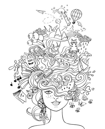 face book: Portrait of young beautiful girl with crazy psychedelic hair and her dreams, wishes, hobbies - lifestyle concept. Creative adult coloring book page.