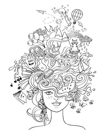 Portret młodej pięknej dziewczyny z szalonymi włosami psychodeliczny i jej marzenia, życzenia, hobby - koncepcja stylu życia. Twórcza książeczka do kolorowania dla dorosłych. Ilustracje wektorowe
