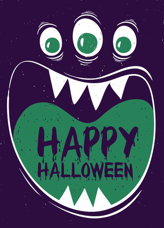 wide: Happy Halloween greeting card. Funny cartoon muzzle of monster with wide open mouth.