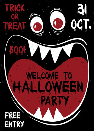 creepy alien: Halloween party flyer or poster. Funny cartoon muzzle of monster with wide open mouth.