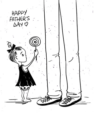 cute baby girl: Sketch funny illustration with cute little baby girl giving lollipop to her father. Happy Fathers day greeting card.