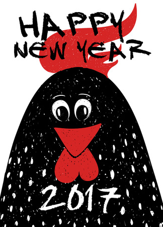 Happy New Year greeting card. Typography poster with funny black rooster - symbol of the Chinese New Year.