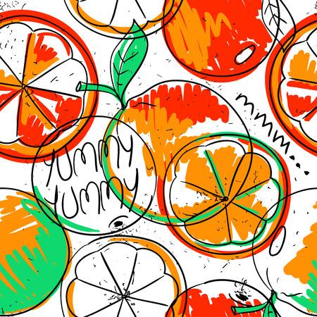 summer diet: Funny colorful cartoon seamless pattern of orange fruit on a white background. Summer fresh fruit background. Illustration
