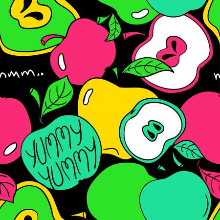 Modèle sans couture drôle de bande dessinée colorée de pomme sur un fond noir. Fond de fruits frais d'été. Vecteurs